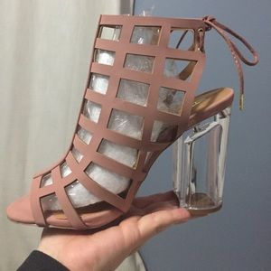 Opened toe bootie/heel fits a size 8